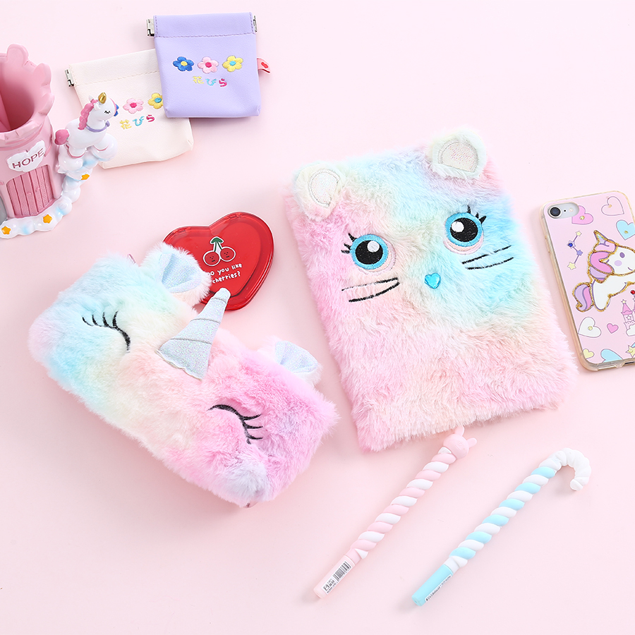 Preppy Fur Student Notebook Cute Panda Student Cartoon Notebook With Line Creative Diary Book For School Weekly Plan Note