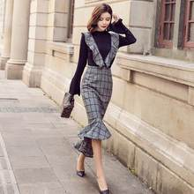 2020 Autumn HIGH QUALITY Office Work Wear Newest Runway Women's Flare Sleeve Tops+2 piece set women Plaid fish tail Dress DC843(China)