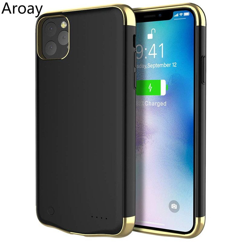 Aroay 6000mAh Silicone Shockproof Battery Charger Cases Power Bank Case For iPhone11 Audio Battery Case For iPhone11Pro 11ProMax