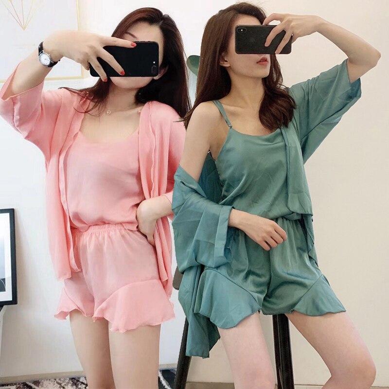 4PCS Sexy Silk Satin Shorts Pajamas Sets For Women Summer Long Sleeve Robes Sleepwear Pyjama Homewear Pijama Mujer Home Clothes