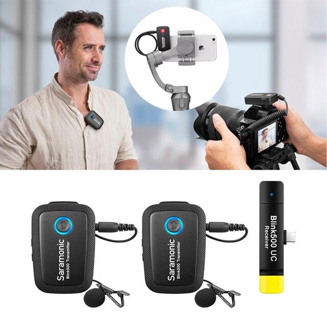 Saramonic Blink500 2.4GHz Çift Kanallı Kablosuz Mikrofon Sistemi ile Yaka Youtube röportaj Vlog Mic Kameralı cep Telefonları Için