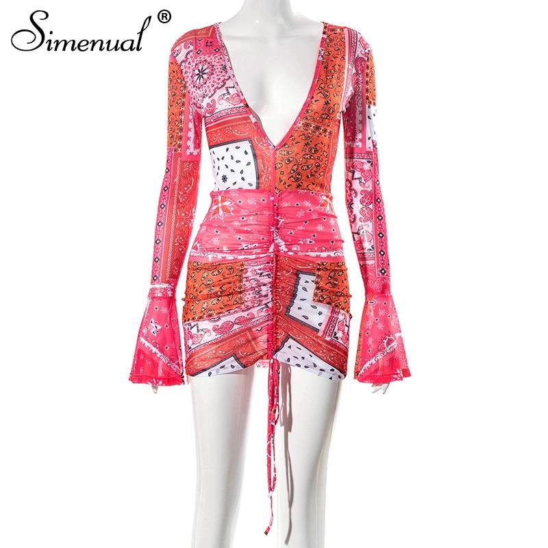 Simenual Deep V Neck Paisley Print Party Dresses Drawstring Mesh Flare Long Sleeve Transparent Club Outfit For Women Mini Dress 7