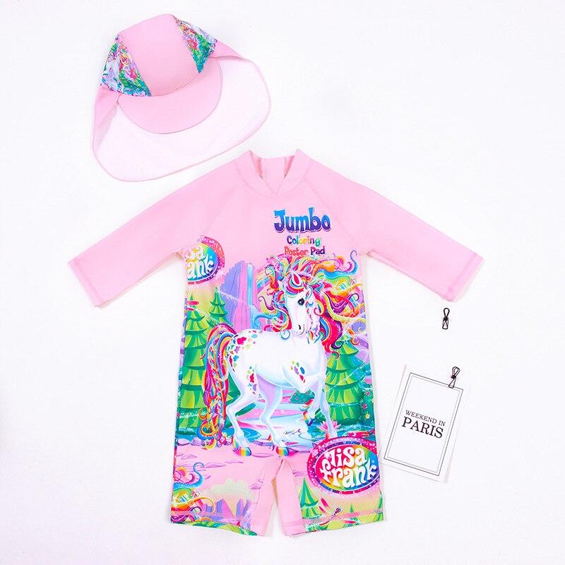 KID'S Swimwear Blisters Young GIRL'S Swimsuit 2-8-Year-Old Cartoon Childrenswear One-piece Swimming Suit Unicorn CHILDREN'S Swim