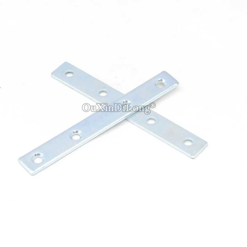 NEW 100PCS Metal Straight Flat Corner Braces Furniture Connecting Fittings Frame Board Support Brackets Repair Parts 2.0X12X90mm