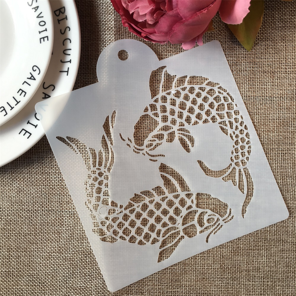 1Pcs 15*17.5cm Two Carp Fish DIY Craft Layering Stencils Painting Scrapbooking Stamping Embossing Album Paper Card Template