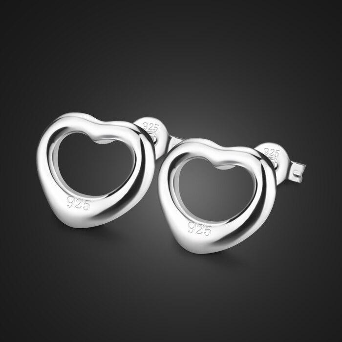 लड़कियों के दिल के आकार के चांदी के झुमके अनुबंधित दिल के झुमके के लिए उपहार ठोस 925 चांदी एलर्जी के झुमके महिलाओं के गहने नहीं होंगे