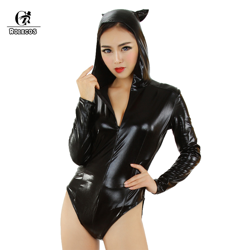 ROLECOS Halloween Stage Cosplay Leather <font><b>Costume</b></font> for Adult Black Jumpsuits Rompers <font><b>Costume</b></font> <font><b>Sexy</b></font> <font><b>Catwoman</b></font> image