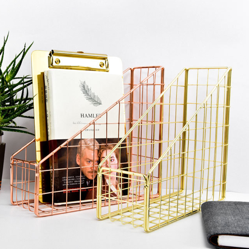 Rose Gold Electroplated Iron Book Holder Desktop Shelf File Box Magazine Book Stand Office Home Stationery Organizer Holder
