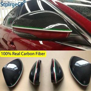 Image 2 - For Alfa Romeo Giulia 952 Stelvio 949 Accessories Real Carbon Fiber Side Mirror Cover Cap Replacement Caps Shell Italian flag