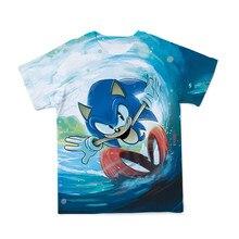 Camiseta de manga corta con cuello redondo para verano, divertida y moderna camiseta 3D con estampado sónico para padres e hijos, para hombre y mujer