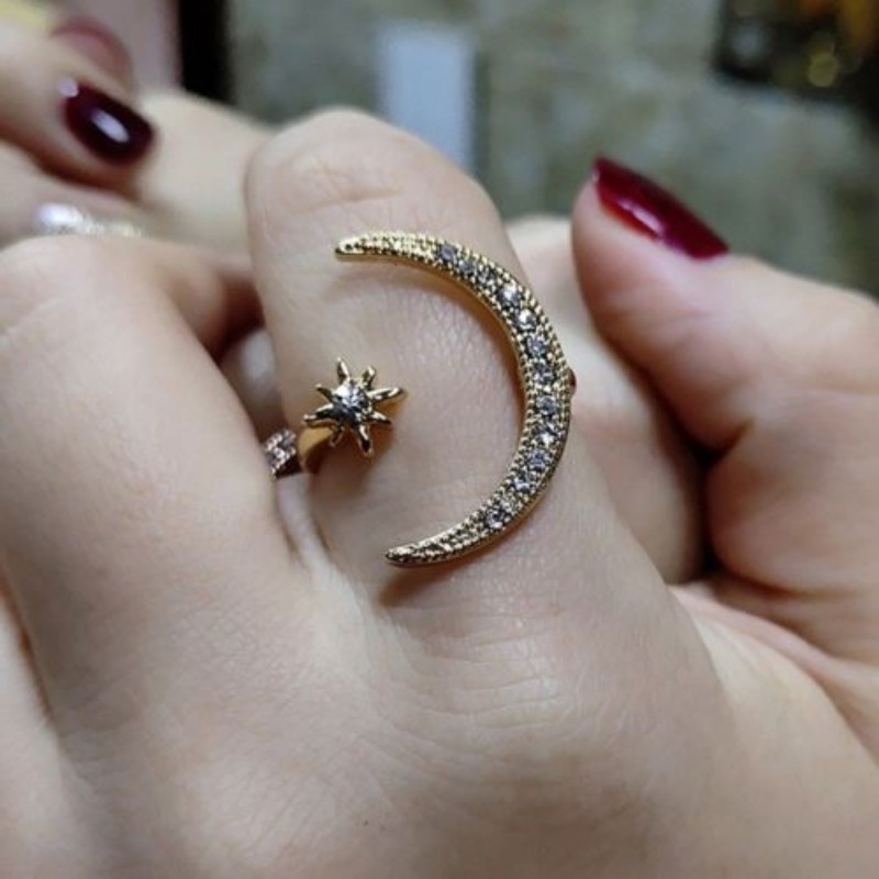 Adjustable Open Ring Crescent Shiny Moon And Tiny Star Rhinestone Crystal Ring For Women Girls Jewlery Gold Silver Rings 2