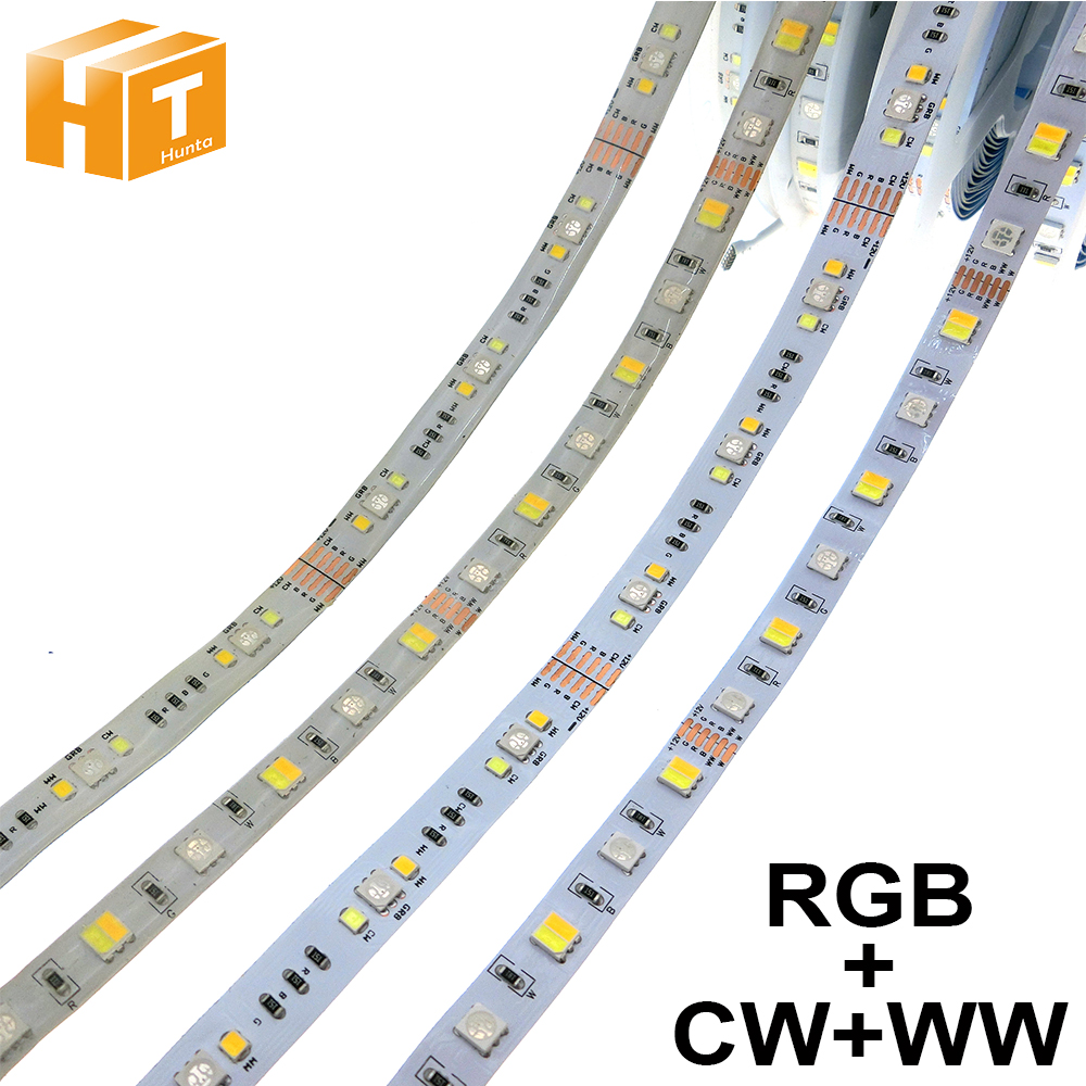 5050 RGB+ White + Warm White Flexible LED Light  12V RGBCCT 5 Color In 1 Chips LED Strip RGBW LED Strip Light 5m/lot.