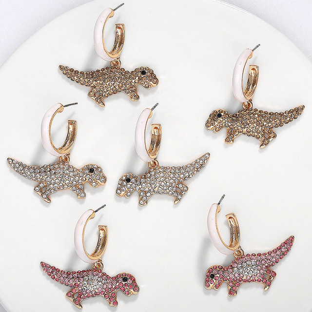 Trendy ZA Tier Ohr Ornamente Dinosaurier Ohr Nägel Stud Ohrringe Bunte Cz Big Hoop Drop Eaerrings Erklärung Jwewlry für Frauen