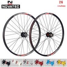 Колесная пара Novatec для горного велосипеда, колеса 26 дюймов D041/D042, алюминиевый V-образный тормоз/дисковый тормоз DP20/DH19 4 подшипника 7-11 скоросте...