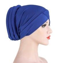 Nouveau Musilm longue queue écharpe chapeau femmes Turban chimio casquette perte de cheveux couvre-chef chapeau chapeaux Dubai arabe Bonnet