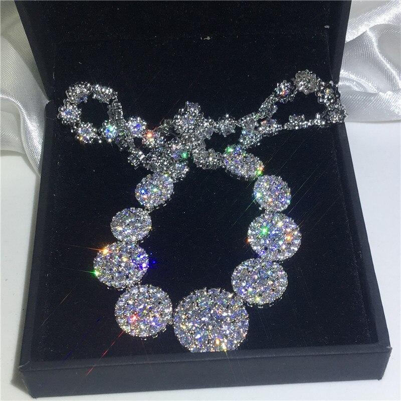 Роскошное ожерелье AAAAA cz, белое золото, сверкающая вечеринка, свадебная подвеска, ожерелье для женщин, свадебные ювелирные изделия, подарок