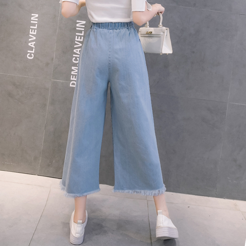 Spring Autumn Lace Up Bow Tassel High Waist Wide Leg Jeans Women Casual Loose Ankle Length Pants Harajuku Denim Trousers Mujer