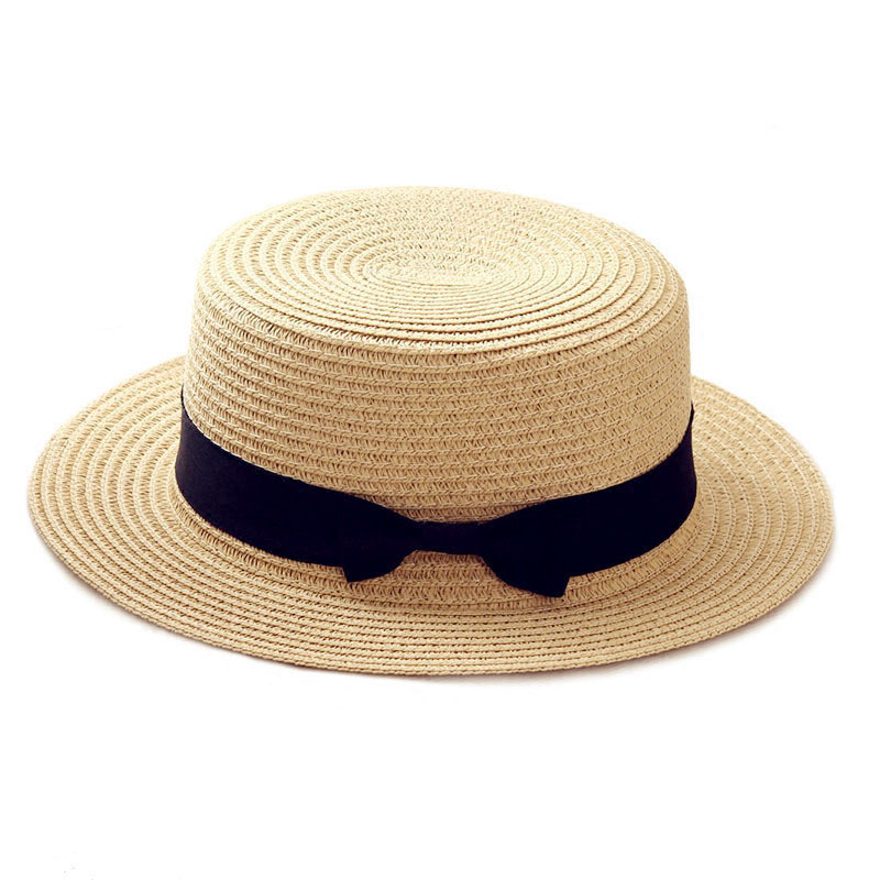 Simple Summer Parent-child Beach Hat Female Casual Panama Hat Lady Brand Women Flat Brim Bowknot Straw Cap Girls Sun Hat