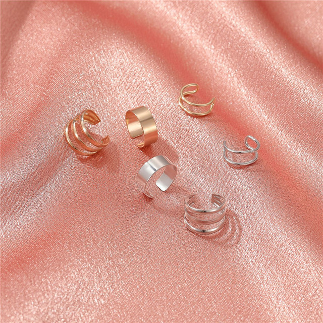 3pcs Fashion Simple Cross Clip Earrings For Women Girls Cute Gold Silver Color Punk Ear Cuff Clip Without Piercing Jewerly 6