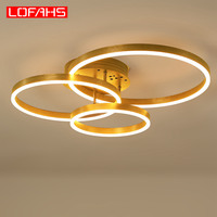 Modern Chandelier Lighting Gold/ Brown Ring Lustre LED Lamp for Living room Bedroom led ceiling Chandelier lighting