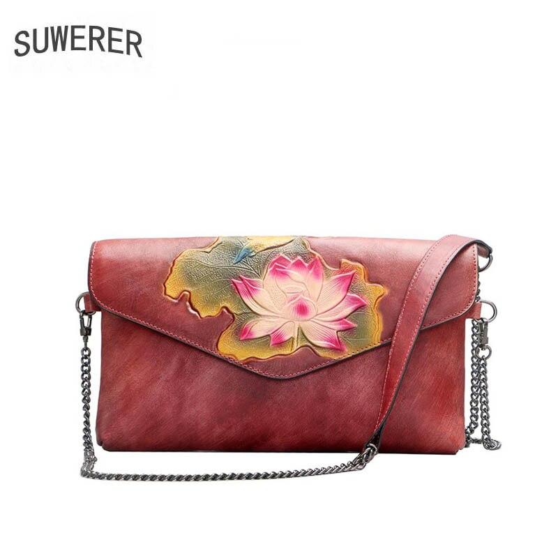 Women Genuine Leather bag 2019 new leather shoulder bag Leather embossed handbags Messenger bag clutch