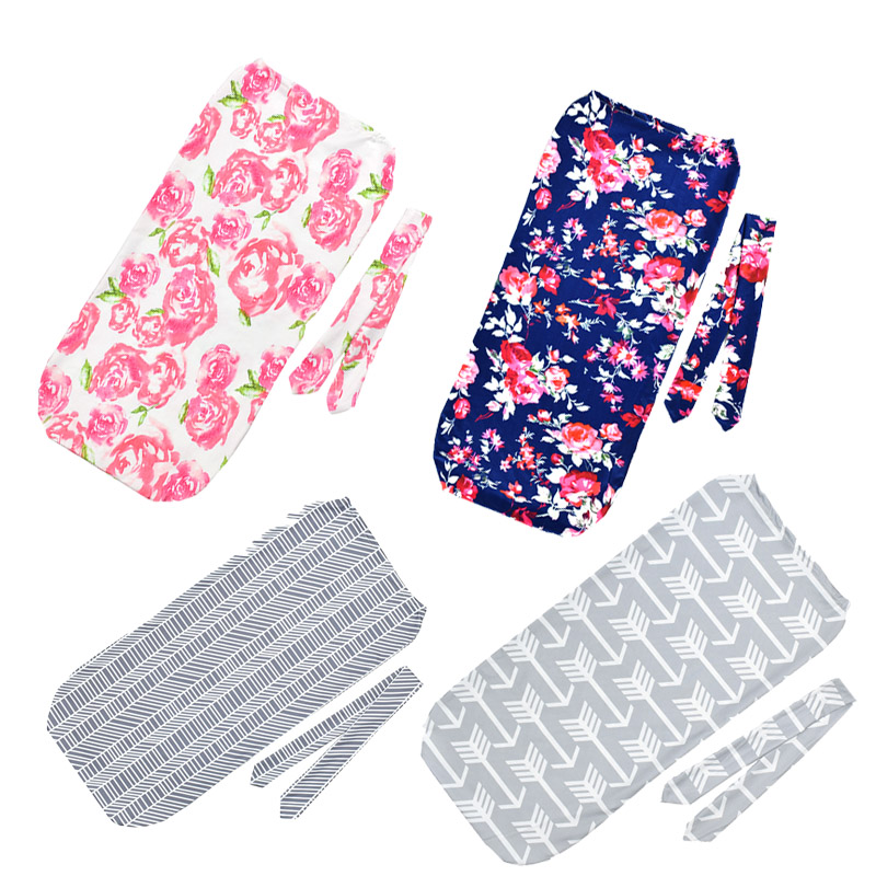 Newborn Baby Swaddle Wrap Two Piece Set With Hair Band Baby Swaddle Blanket Flower Pattern Anti-Kick Infant Cotton Sleeping Bag
