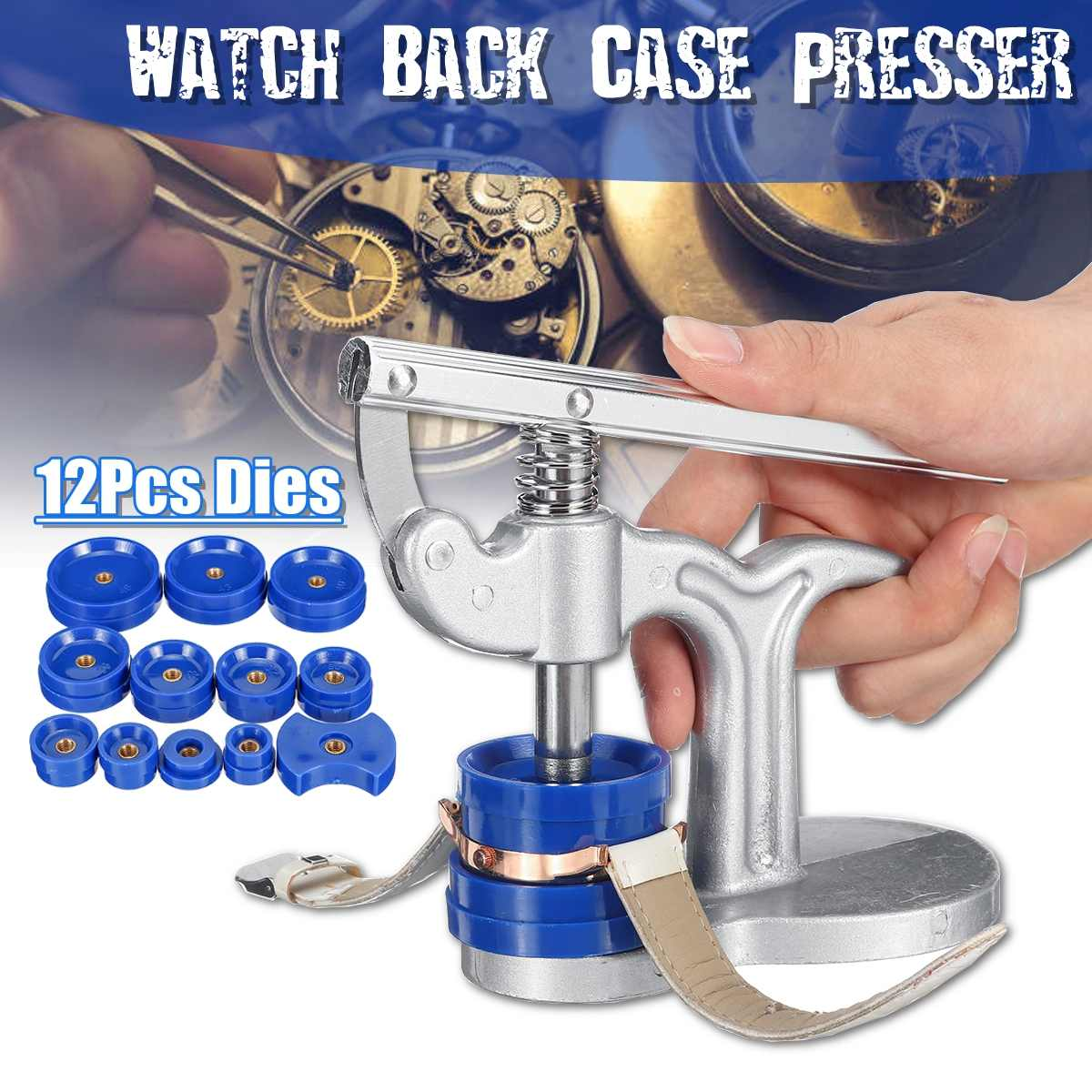DOM  Watch Case Press Dies Watch Crystal Front Back Case Cover Screw Press Presser Close Watchmakers Repair Kit Tools