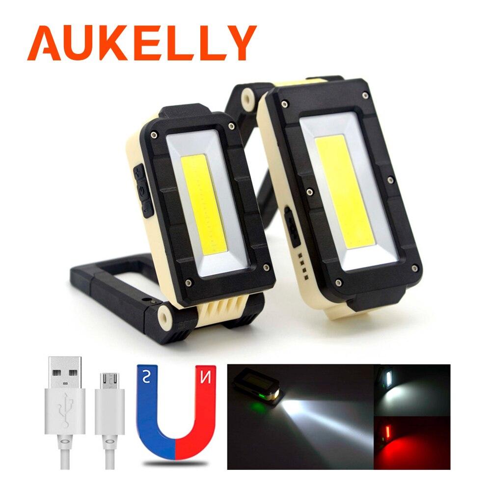 Lampe de travail Portable torche 4 Mode COB + xpe LED rechargeable par usb lampe de travail lampe de travail magnétique lampe à crochet avec support