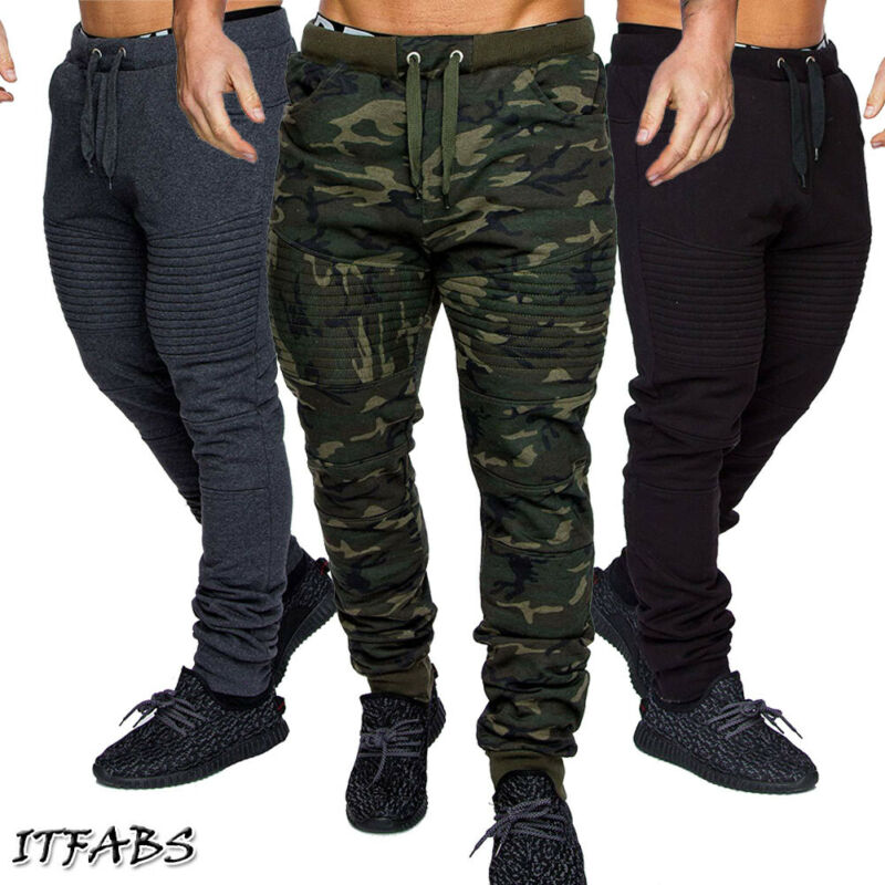 US STOCK Mens Camouflage Biker Style Training Sport Pants Jogging Trousers
