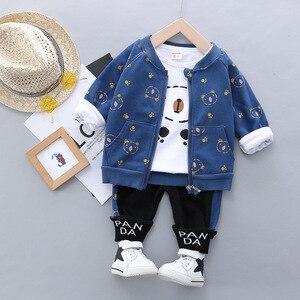 Image 3 - Kid Baby Boy Casual Clothing Set Cartoon Bear Zipper Coat Clothes Shirt Clothing Sets 3PCS Toddler Baby Set Boys  1 2 3 4 Years