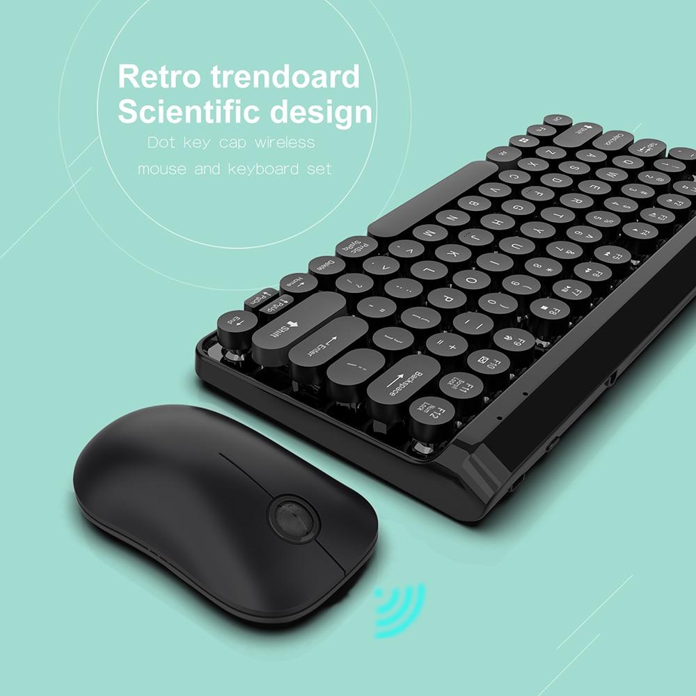 מוצרי חשמל לבית מקלדת ועכבר אלחוטי נטען פאנק רטרו 77 מקלדת הילוכי 10m keycap העגול נייד PC (4)