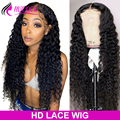 HD Transparent Lace Frontal Wig Deep Wave Lace Front Wig 200 250 Density Lace Wig Remy Brazilian Curly Lace Front Human Hair Wig