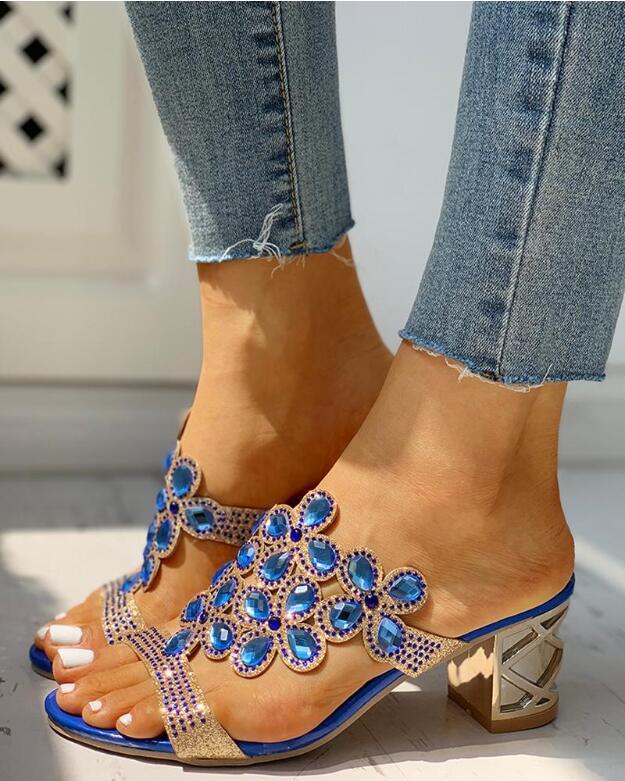 New Summer Sandals Women Heels Square Heels Sandalia Feminina Ladies Pump Sandalias De Flores Party Wedding Peep Toe Sandals