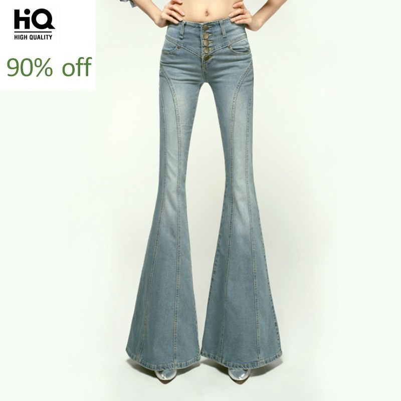 2020 Brand Lady Slim Wide Leg Denim Flare Pants High Waist Single Breasted Women Boot Cut Jeans Trousers Autumn Winter Clothing