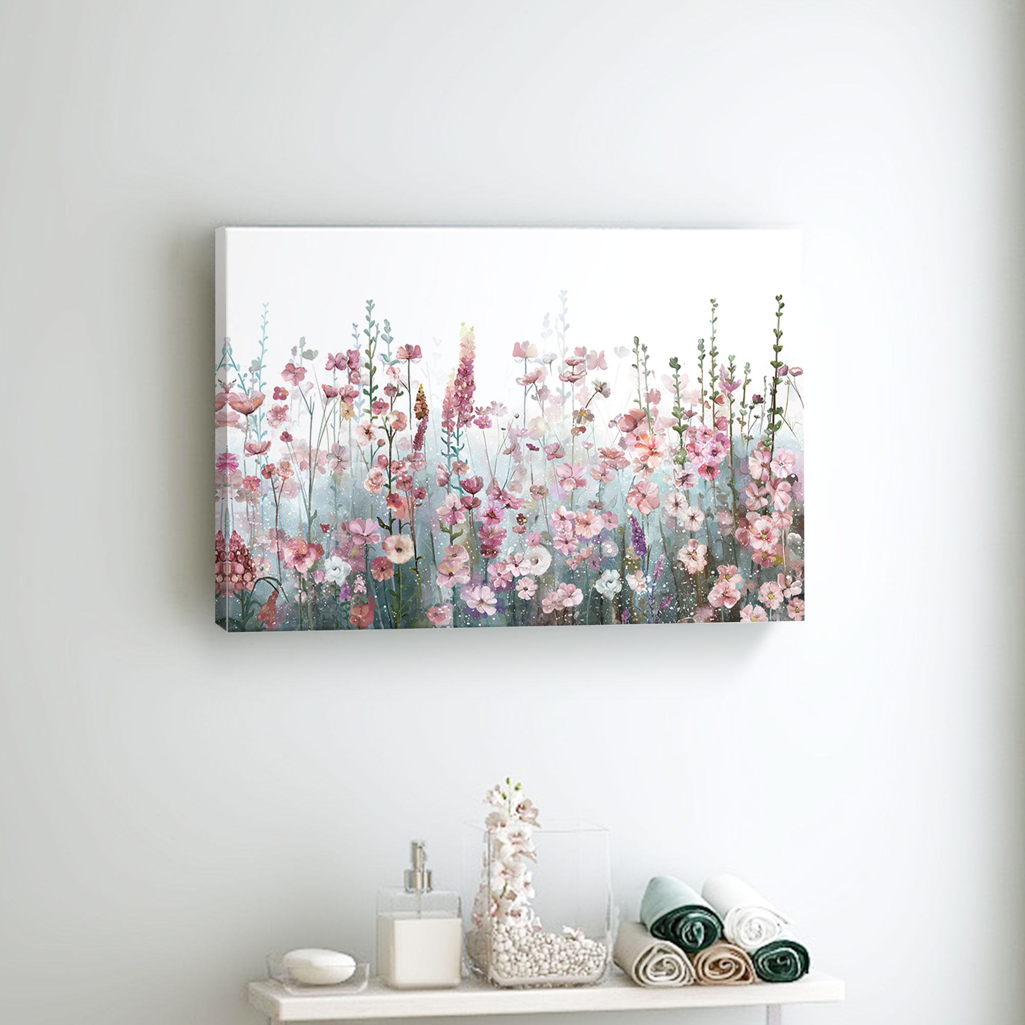 Flower Wall Art Canvas Painting Botanical Posters for Bedroom Pink Grey Bathroom Pictures Modern Living Room Home Decor Prints
