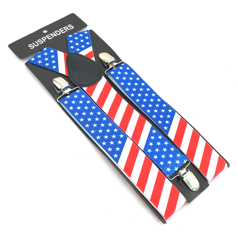 United States American Flag Y-back 3.5cm Wide Suspenders For Man Unisex Clip-on Pants Braces Elastic Men's Suspender For Pant