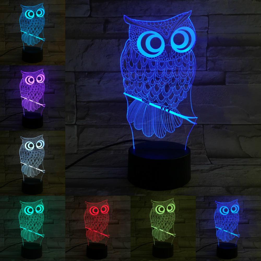 Novelty Animal Owl 3D Lamp Lighting LED USB RGB Mood Illusion Night Light Multicolor Luminaria Table Desk Holiday Chirstmas Gift image