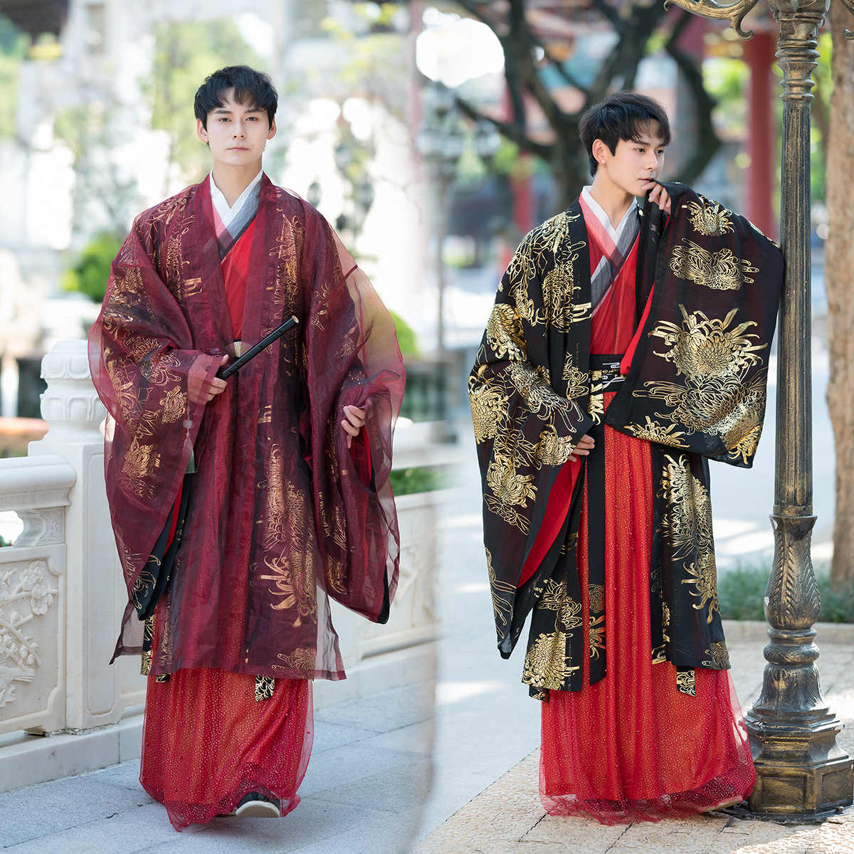 Men Hanfu Chinese Traditional Tang Suit Tops Skirt Vest Japanese Samurai Cosplay Costume Kimono Hanfu Dress Yukata Robe Gown