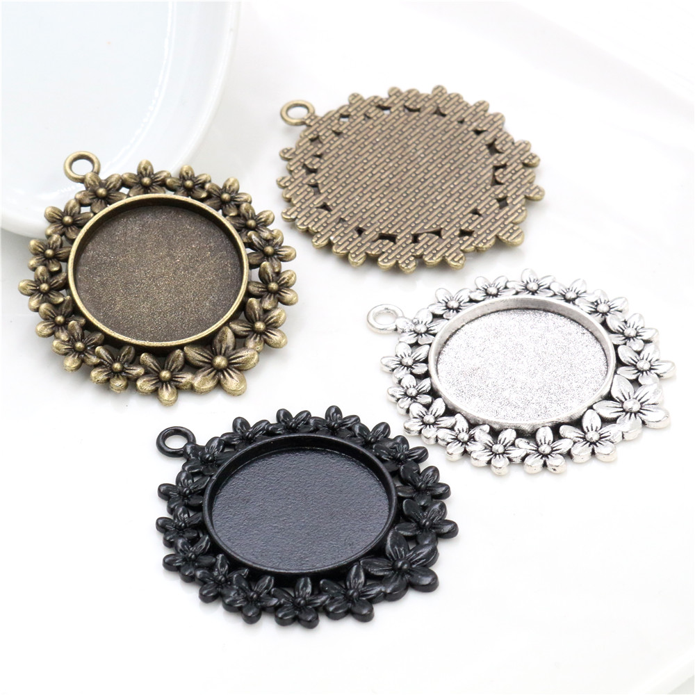 5pcs 25mm Inner Size Antique Silver Bronzer And Black Flowers Style Cabochon Base Setting Charms Pendant