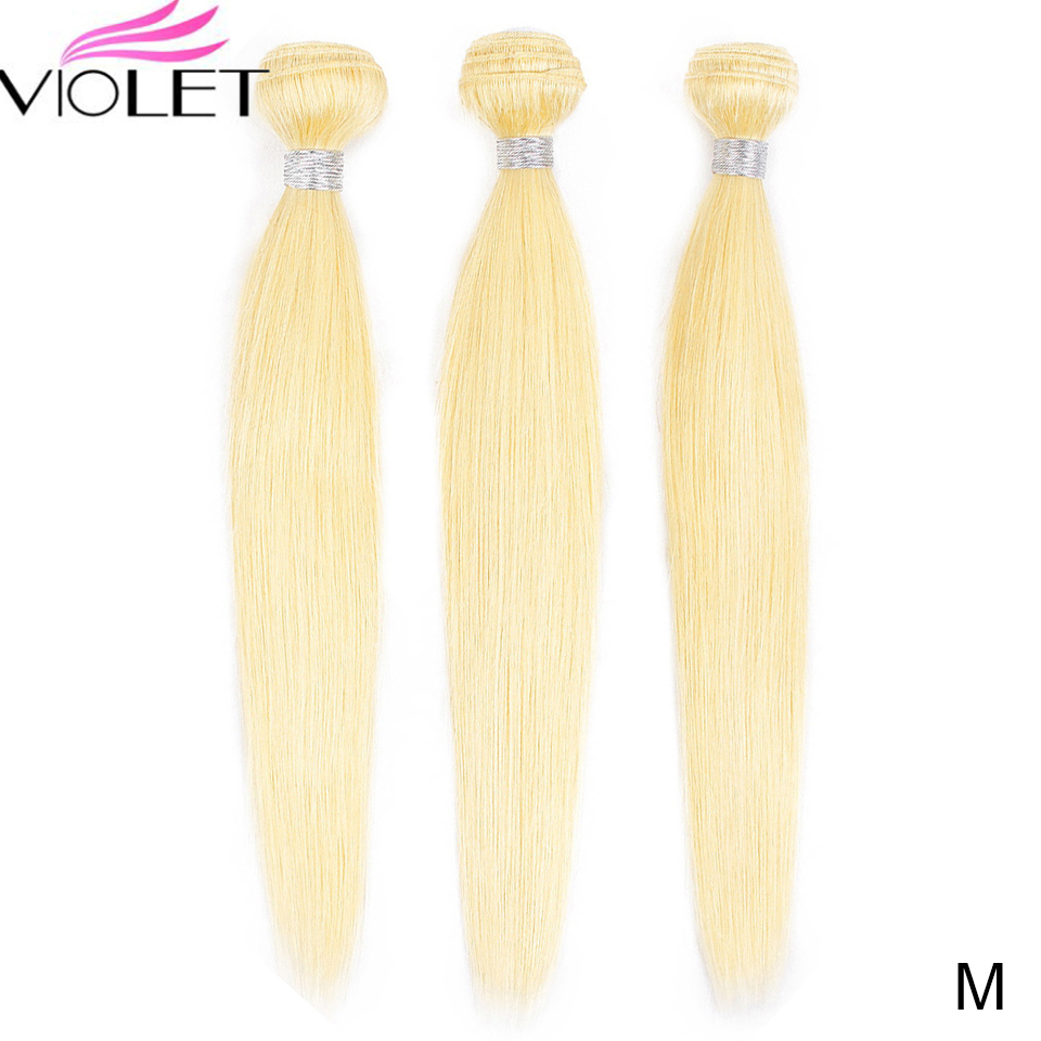VIOLET Peruvian Straight 613 Blonde Bundle Medium Ratio 8-26 Non-Remy Human Hair Weave Tissage Blond Honey Hair 3/4 Bundle Deal
