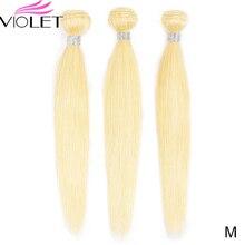 VIOLET Peruvian Straight 613 Blonde bundle Medium Ratio 8 26 Non Remy Human Hair Weave Tissage Blond Honey Hair 3/4 bundle Deal