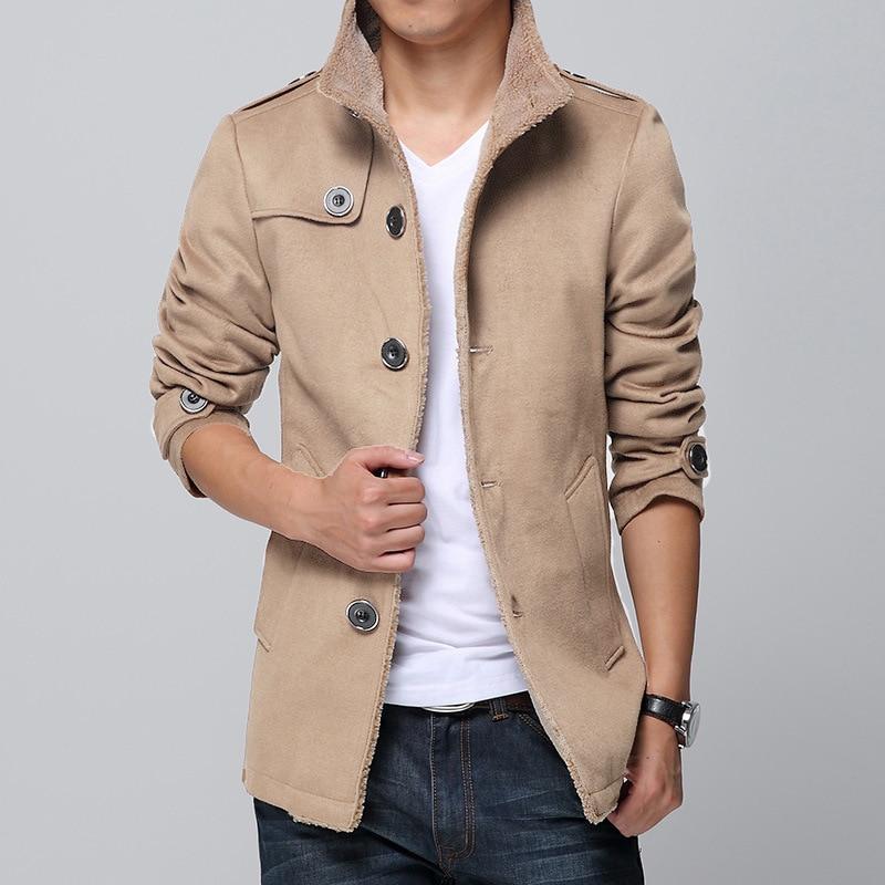 New Arrival Slim Fit Plus Size 4xl Mens Winter Coat Windbreaker Woolen Blend Coat Male Thick Overcoat Boys Long Sleeve Outerwear