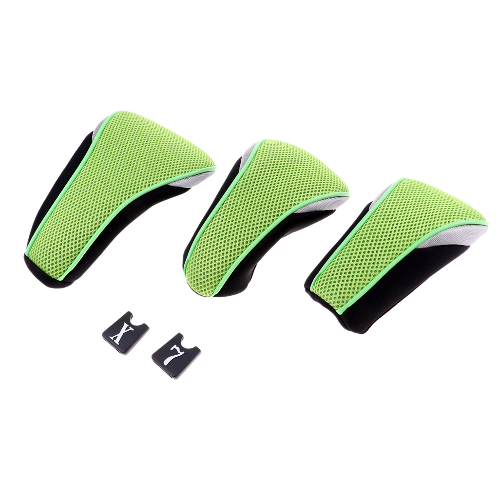 3Pcs Soft Golf Wood Head Covers With Interchangeable Number Tags 1 3 5 7 X Golf Club Putter Protector For Fairway Wood