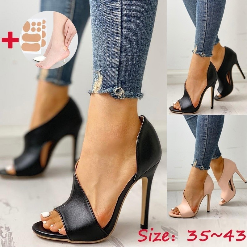 Shoes Fish-Head-Pumps Sandals-Size Open-Toe Super-High-Heel Fashion Summer Women's Ladies title=