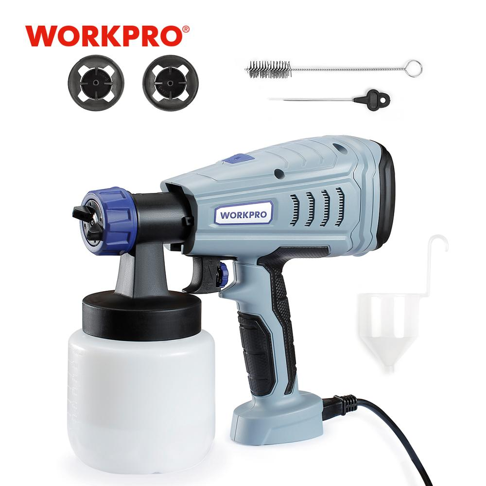 WORKPRO Spray Gun 550W 220V Paint Spray Gun High 800ML Power Electric Paint Sprayer With 2 Nozzle For Home Use Beginner