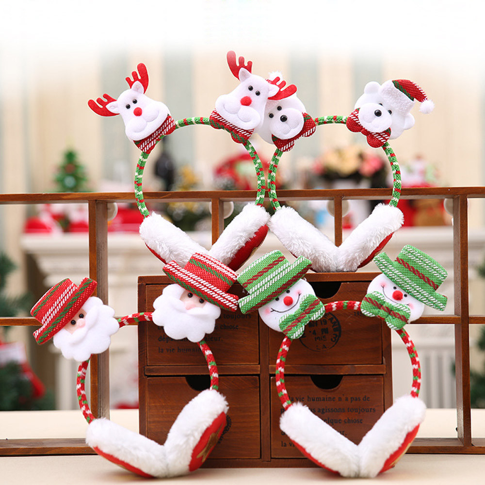 Earmuffs Winter Women Windproof Warm Cute Christmas Santa Claus Elk Snowman Bear Adult Kids Decor Warm Earmuffs Party K1016
