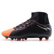 MAULTBY Men's Black Orange High Ankle AG Sole Outdoor Cleats Football Boots Shoes Soccer Cleats