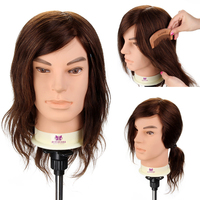 12 100%Real Hair Male Hairdressing Training Head Man Salon Hair Design Practice Mannequin Head Cutting Marcel Dyeing Tool