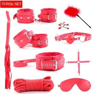 10 шт./компл. наручники полицейские принадлежности для косплея игрушки для набора наручники зажимы для сосков кляп кнут секс-игрушки для пар сексуальная маска