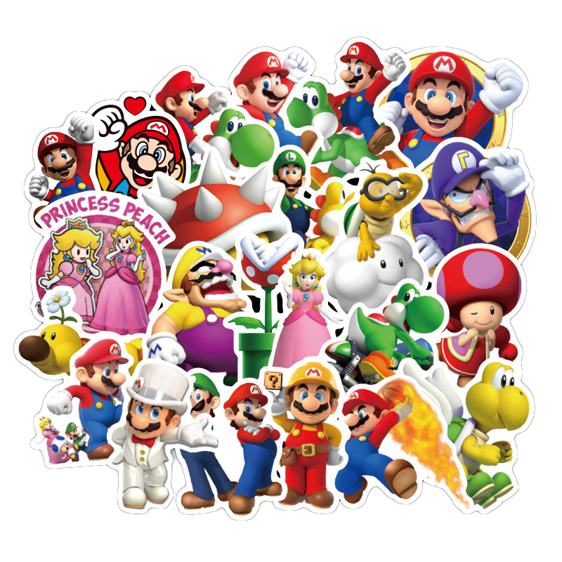 100pcs Anime Game Mario Cartoon Sticker Waterproof Suitcase DIY Laptop Guitar Skateboard Toy Lovely Stickers F2